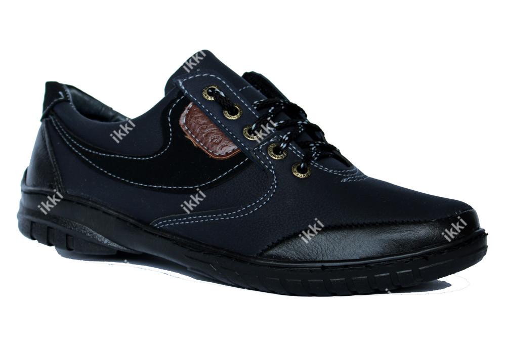 44 р Мужские удобные мокасины синие с черным (ПТ 20С) фото №1