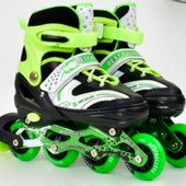 Ролики раздвижные 1001 1002 1003 Best Rollers 3 цв., s/m/l, переднее колесо свет