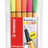 Stabilo neon 5. Капилярные ручки 0, 4 мм point 88. Германия