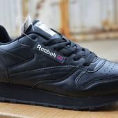Женские подростковые кроссовки reebok classic black рибок черные