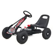 Карт M 0645-2 жел, педальный, ручной тормоз, надувн колеса, цепная передача, черный