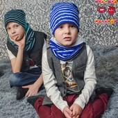 Трикотажные комплекты шапочка и хомут Полоски, весна 2017