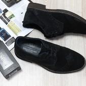 Туфли на шнурках черная замша