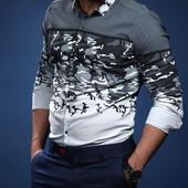 Мужская рубашка 4 расцв.  к4534