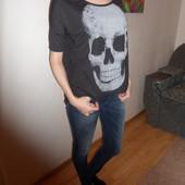 S-M футболка с черепом ткань с серебряным напылением