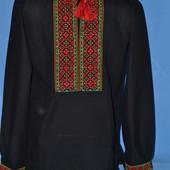 Красивая мужская вышиванка черная лен (чоловіча вишиванка льон)