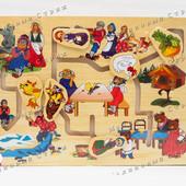 Деревянный лабиринт логика Народные Сказки, репка, золотая рыбка, три медведя