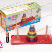 Деревянная игрушка Пирамидка M00755, кольца 8шт, сортировка по цвету, учит счету
