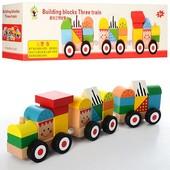 Деревянная игрушка Паровозик MD0994, поезд, 2 вагона, конструктор Городок, 22 фигурки + 3 основы
