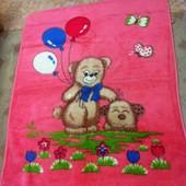 Одеяло розовое с рисунком мишки