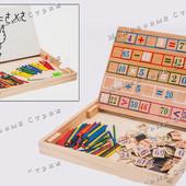 Двусторонняя деревянная доска мольберт для рисования MD 0996, магнитные цифры счетные палочки маркер