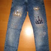 Детские джинсы Короны для девочки рр. 116-140 Beebaby (Бибеби)