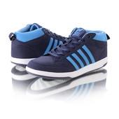 Мужские кроссовки с полосами 12727-28 синие и красные