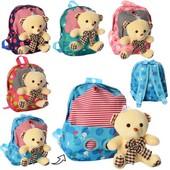Рюкзак ,  ведмедик, застібка-блискавка, мікс кольорів, кул., 27-25-10 см