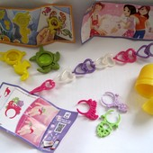 Киндер: игрушки, браслеты, кольца, увеличительные стекла.