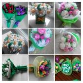 Букет из конфет из гофрбумаги, конфеты трюфель Авк. Крокусы, Нарциссы, Розы, Подснежник