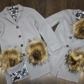 Пальто тренч плащ для девочки девушки кашемир с подкладкой мех сьемный 140,146,152,158