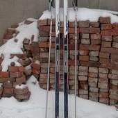 Лыжи беговые fischer sporty crown+палки salomon siam comp