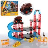 Игровой набор Гараж YF7788-1 Bl, трек, машинка, паркинг, 3 уровня, аналог hot wheels, машины монстры