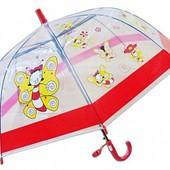 Детский яркий прозрачный зонтик зонт трость для малышей 1-5 л, для мальчика и для девочки.