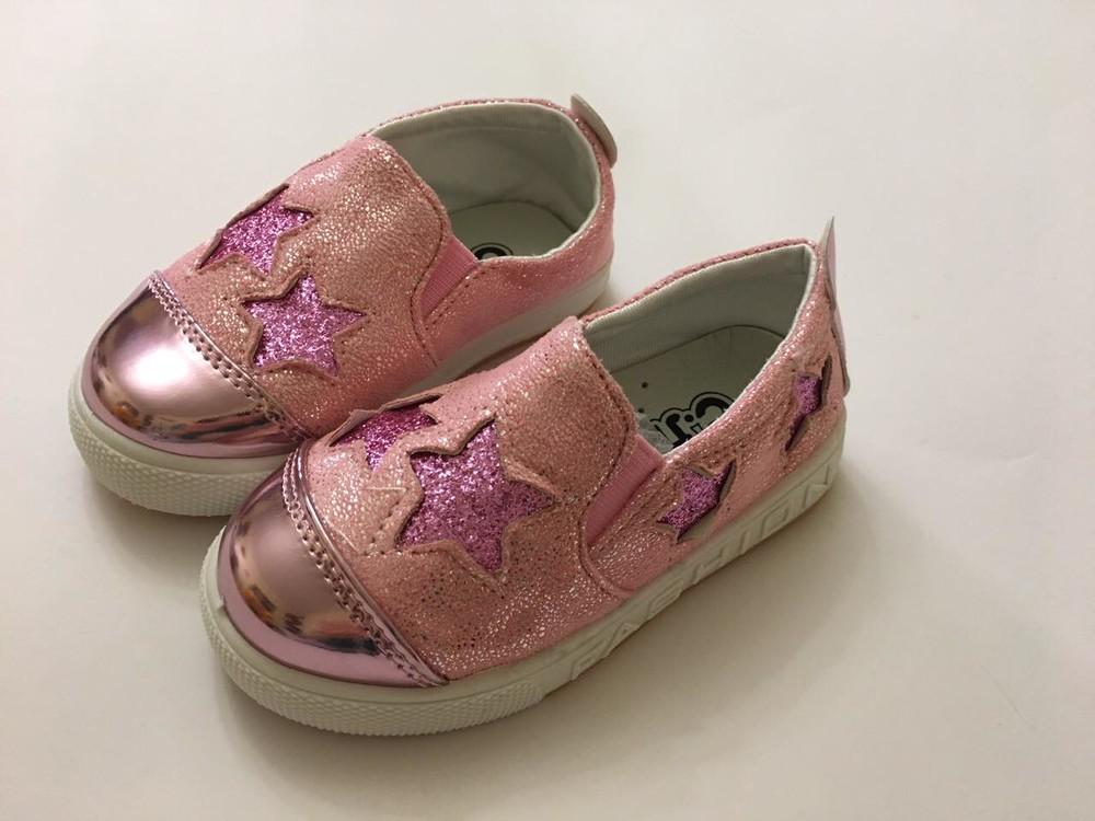 Слипоны, мокасины розовые звездочка фото №2