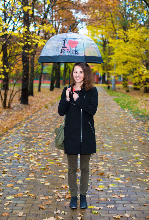 Женский элегантный купольный  зонт трость полуавтомат. прозрачный, принт i love rain фото №1