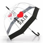 Детский подростковый купольный  прозрачный зонт зонтик трость I Love Rain