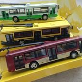 Троллейбус металлический, инерционный,машинка, транспорт