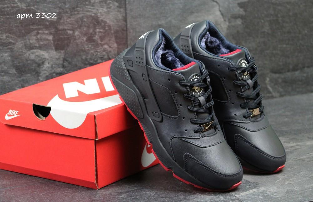 Зимние мужские кроссовки Nike Huarache blue/red фото №1