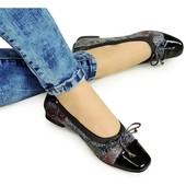 Балетки металлик с лаковым черным носком