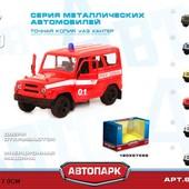 Модель джип Play Smart 6401D Автопарк пожарная машина бобик металлическая инерционная пожарка