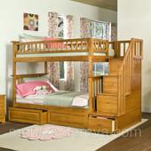 «Геракл»: двухъярусная кровать трансформер с лестницей комодом, натуральное дерево!