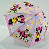 Яркий детский зонт зонтик трость для мальчика и девочки Микки Минни Маус