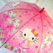 Яркий детский  зонт зонтик трость для девочки Hello Kitty Хеллоу Китти