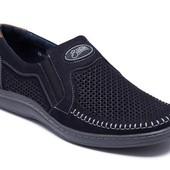 Туфли на резинке мужские кожаные (036пс)