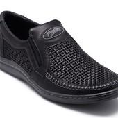 Туфли - Мокасины летние мужские Кожаные (036пч)