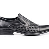 Туфли на резинку кожаные прошитые (065п)