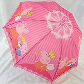 Яркий детский зонтик зонт трость для девочки Свинка Пеппа