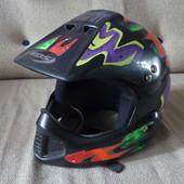 Шлем для мотоцикла, байка, скутера, яркий, 52см