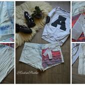 Новые шорты с тканными вставками,р-р ХЛ