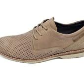 Мужские мокасины перфорацией Multi Shoes M4 бежевые