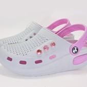 13-117001  Стильные женские кроксы с фитнес подошвой Цвет - белый+розовый, размеры 36-41