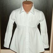 Villa HAPP (110  рост ) белоснежная хлопковая рубашка для девочки