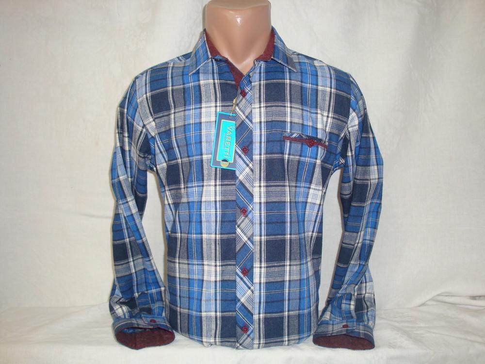 Мужская тёплая рубашка в клетку fr. varetti, турция. разные цвета.  фото №1