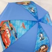 Яркий красивенный зонт зонтик трость для мальчика Тачки большой купол 4-8 лет
