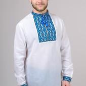 Вышиванка мужская с красным и голубым орнаментом.