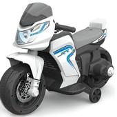 Детский электромобиль мотоцикл Белый (M1710) с мотором 30W