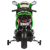 Детский двухколесный мотоцикл Bambi зеленый (M 2769 EL-5) с двумя аккумуляторами