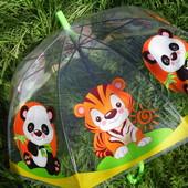 Новинка Яркий купольный прозрачный зонт зонтик трость для мальчика и девочки с мультяшками. 2-6 лет