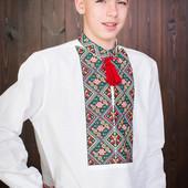 Красивая мужская вышитая рубашка вышиванка лен